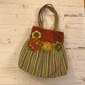 Buco Embroidered floral and striped tote